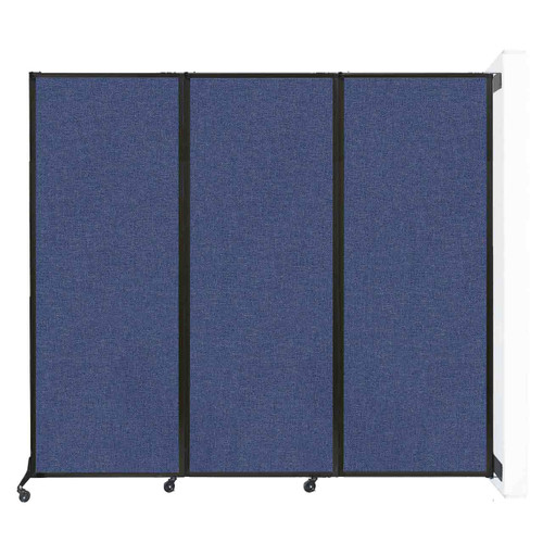 """Wall-Mounted QuickWall Folding Portable Partition 8'4"""" x 7'4"""" Cerulean Fabric"""