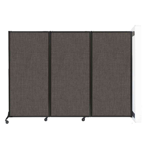 """Wall-Mounted QuickWall Folding Portable Partition 8'4"""" x 5'10"""" Mocha Fabric"""