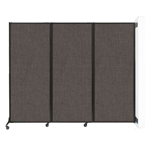 """Wall-Mounted QuickWall Folding Portable Partition 8'4"""" x 6'8"""" Mocha Fabric"""
