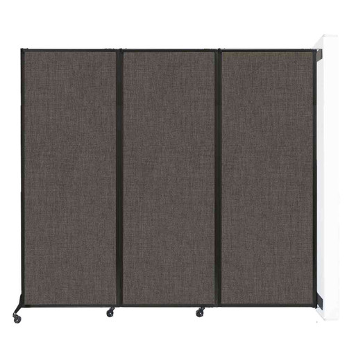 """Wall-Mounted QuickWall Folding Portable Partition 8'4"""" x 7'4"""" Mocha Fabric"""