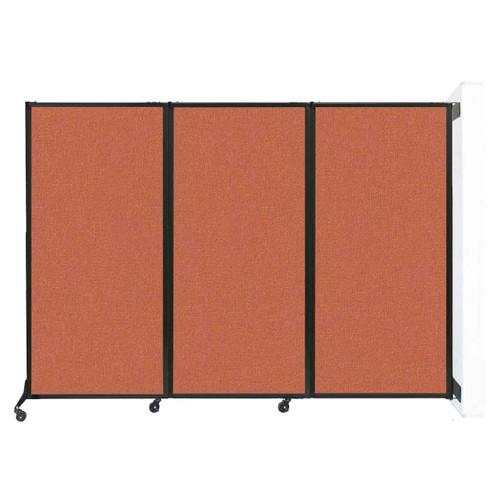 "Wall-Mounted QuickWall Folding Portable Partition 8'4"" x 5'10"" Papaya Fabric"