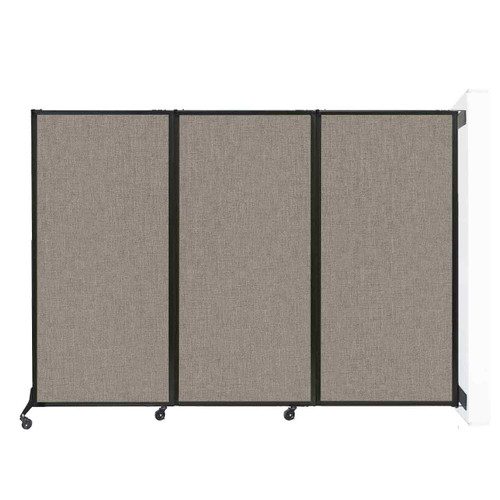 """Wall-Mounted QuickWall Folding Portable Partition 8'4"""" x 5'10"""" Warm Pebble Fabric"""