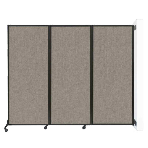 """Wall-Mounted QuickWall Folding Portable Partition 8'4"""" x 6'8"""" Warm Pebble Fabric"""