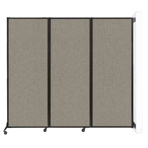 "Wall-Mounted QuickWall Folding Portable Partition 8'4"" x 7'4"" Warm Pebble Fabric"