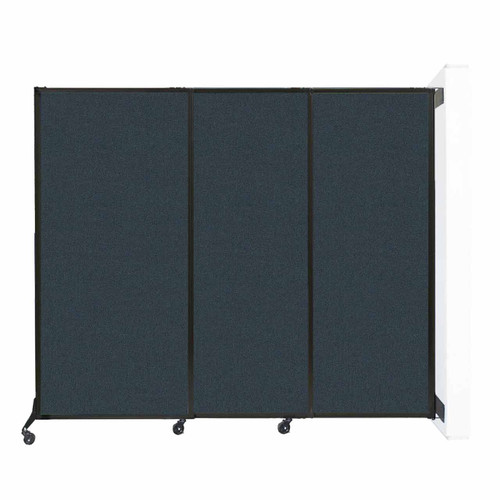 """Wall-Mounted QuickWall Sliding Partition 7' x 5'10"""" Blue Spruce Fabric"""