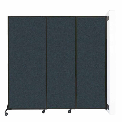 """Wall-Mounted QuickWall Sliding Partition 7' x 6'8"""" Blue Spruce Fabric"""