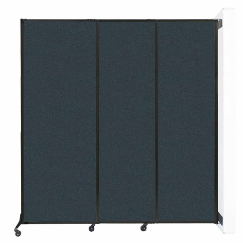 """Wall-Mounted QuickWall Sliding Partition 7' x 7'4"""" Blue Spruce Fabric"""