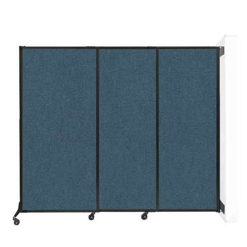 """Wall-Mounted QuickWall Sliding Partition 7' x 5'10"""" Caribbean Fabric"""