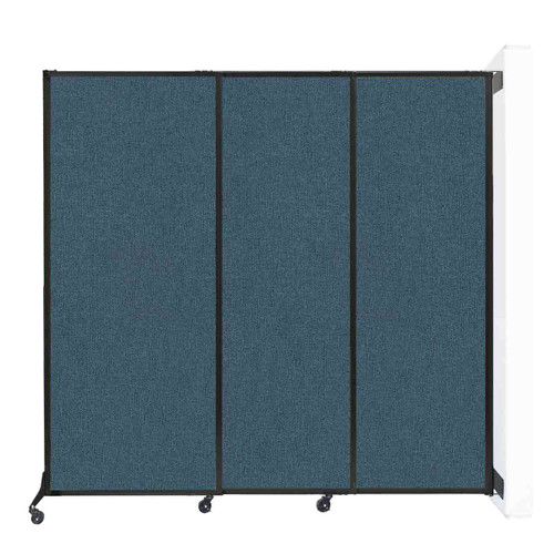 "Wall-Mounted QuickWall Sliding Partition 7' x 6'8"" Caribbean Fabric"