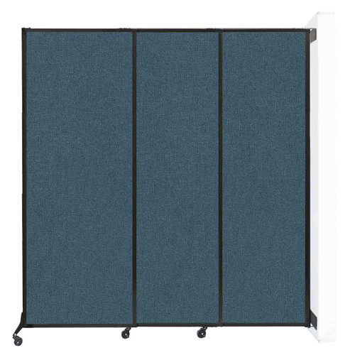 """Wall-Mounted QuickWall Sliding Partition 7' x 7'4"""" Caribbean Fabric"""