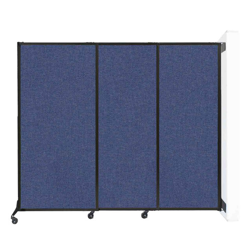 "Wall-Mounted QuickWall Sliding Partition 7' x 5'10"" Cerulean Fabric"