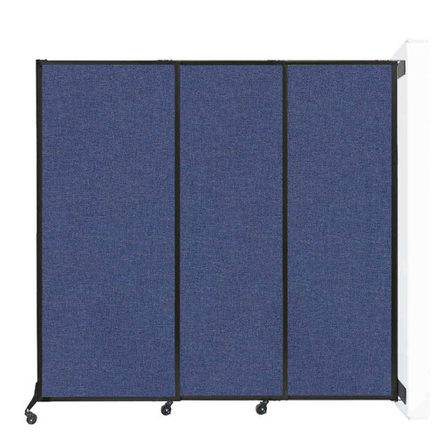 "Wall-Mounted QuickWall Sliding Partition 7' x 6'8"" Cerulean Fabric"