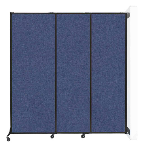 "Wall-Mounted QuickWall Sliding Partition 7' x 7'4"" Cerulean Fabric"