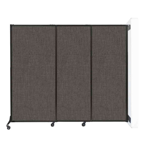 """Wall-Mounted QuickWall Sliding Partition 7' x 5'10"""" Mocha Fabric"""