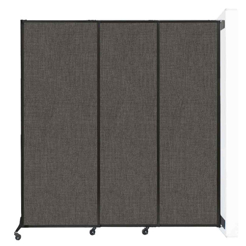 "Wall-Mounted QuickWall Sliding Partition 7' x 7'4"" Mocha Fabric"