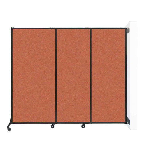 "Wall-Mounted QuickWall Sliding Partition 7' x 5'10"" Papaya Fabric"