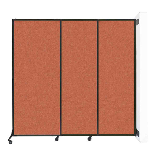 "Wall-Mounted QuickWall Sliding Partition 7' x 6'8"" Papaya Fabric"