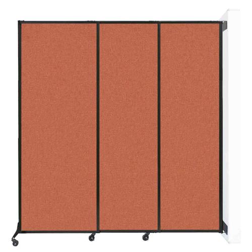 "Wall-Mounted QuickWall Sliding Partition 7' x 7'4"" Papaya Fabric"