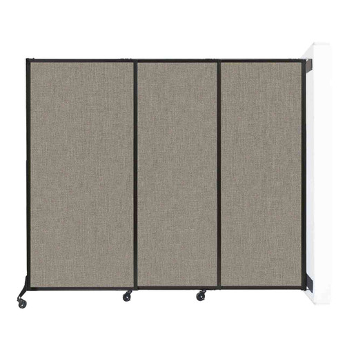 """Wall-Mounted QuickWall Sliding Partition 7' x 5'10"""" Warm Pebble Fabric"""