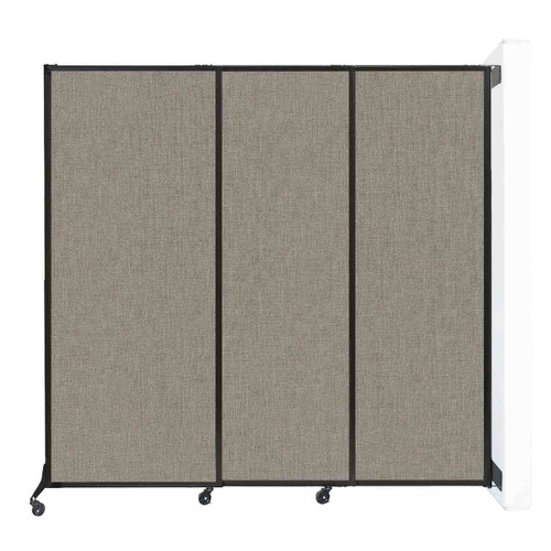 """Wall-Mounted QuickWall Sliding Partition 7' x 6'8"""" Warm Pebble Fabric"""