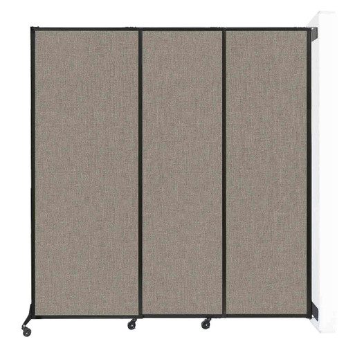 """Wall-Mounted QuickWall Sliding Partition 7' x 7'4"""" Warm Pebble Fabric"""