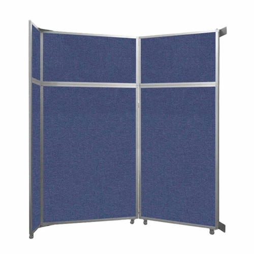 """Operable Wall Folding Room Divider 7'11"""" x 8'5-1/4"""" Cerulean Fabric"""