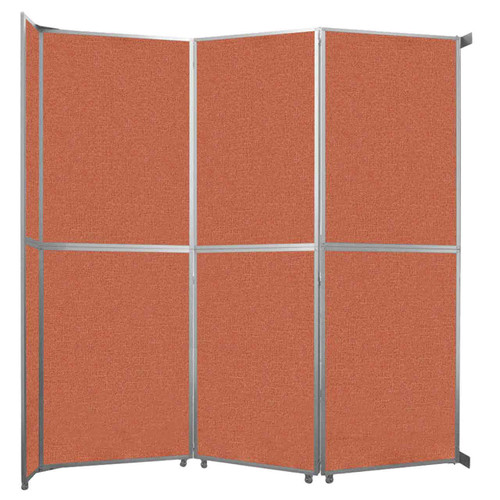 "Operable Wall Folding Room Divider 11'9"" x 12'3"" Papaya Fabric"