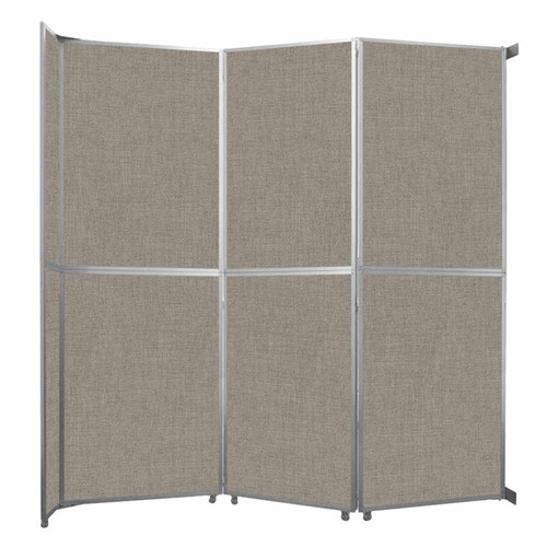 """Operable Wall Folding Room Divider 11'9"""" x 12'3"""" Warm Pebble Fabric"""