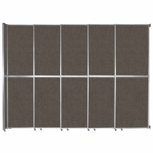 "Operable Wall Sliding Room Divider 15'7"" x 12'3"" Mocha Fabric"