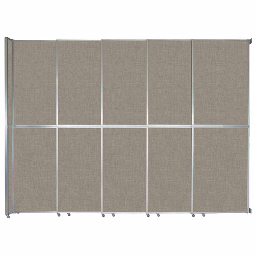 "Operable Wall Sliding Room Divider 15'7"" x 12'3"" Warm Pebble Fabric"