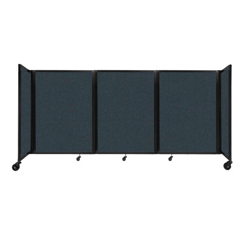"""Room Divider 360 Folding Portable Partition 8'6"""" x 4' Blue Spruce Fabric"""