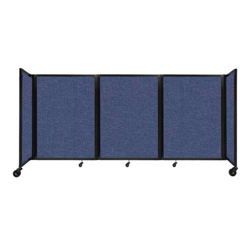 """Room Divider 360 Folding Portable Partition 8'6"""" x 4' Cerulean Fabric"""