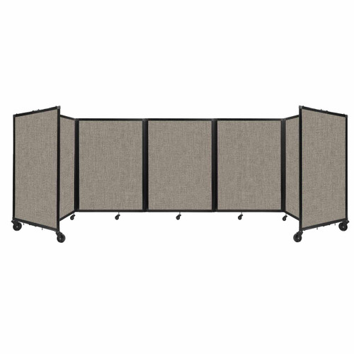 Room Divider 360 Folding Portable Partition 14' x 4' Warm Pebble Fabric