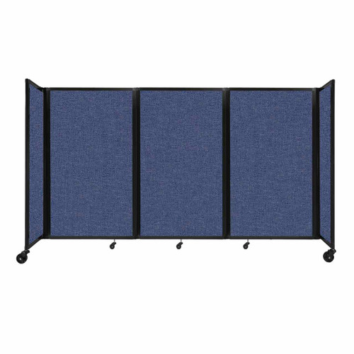 """Room Divider 360 Folding Portable Partition 8'6"""" x 5' Cerulean Fabric"""