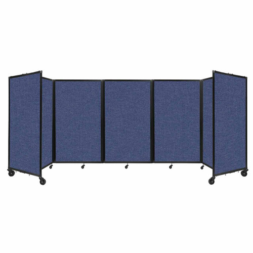 """Room Divider 360 Folding Portable Partition 14"""" x 5' Cerulean Fabric"""