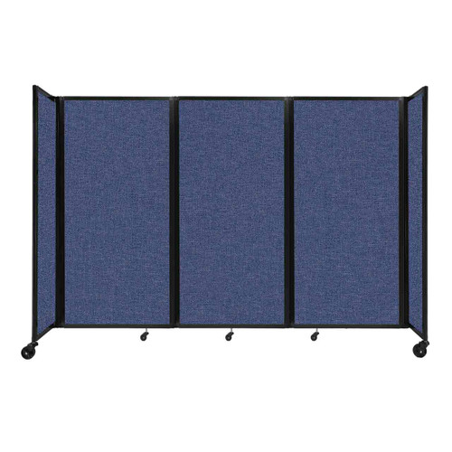 """Room Divider 360 Folding Portable Partition 8'6"""" x 6' Cerulean Fabric"""