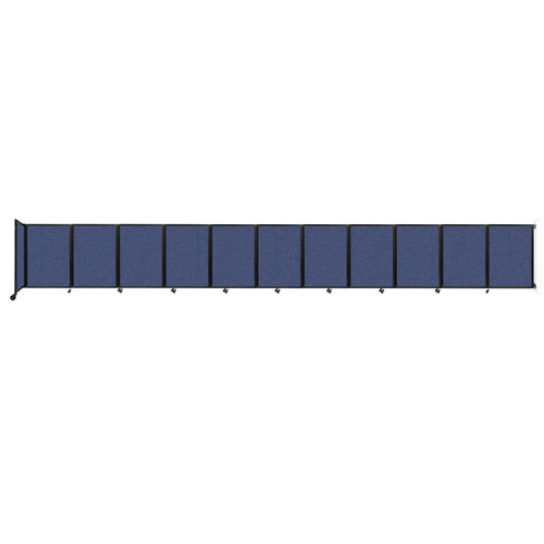 """Wall-Mounted Room Divider 360 Folding Partition 30'6"""" x 4' Cerulean Fabric"""