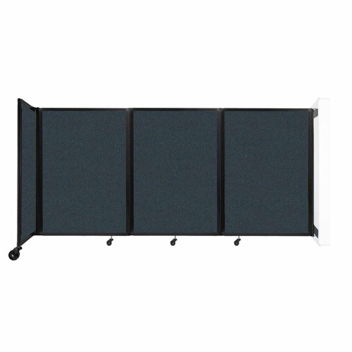 """Wall-Mounted Room Divider 360 Folding Partition 8'6"""" x 4' Blue Spruce Fabric"""