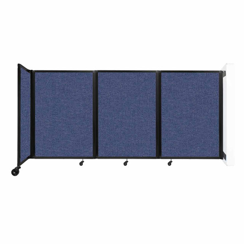 """Wall-Mounted Room Divider 360 Folding Partition 8'6"""" x 4' Cerulean Fabric"""