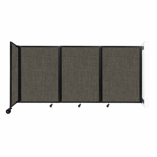 """Wall-Mounted Room Divider 360 Folding Partition 8'6"""" x 4' Mocha Fabric"""