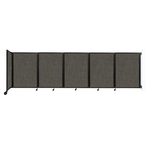 Wall-Mounted Room Divider 360 Folding Partition 14' x 4' Mocha Fabric