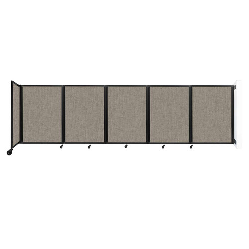 Wall-Mounted Room Divider 360 Folding Partition 14' x 4' Warm Pebble Fabric