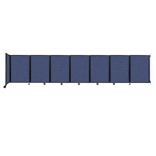 """Wall-Mounted Room Divider 360 Folding Partition 19'6"""" x 4' Cerulean Fabric"""