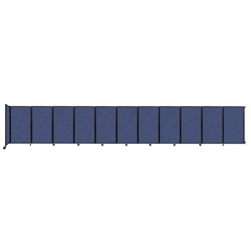 """Wall-Mounted Room Divider 360 Folding Partition 30'6"""" x 5' Cerulean Fabric"""