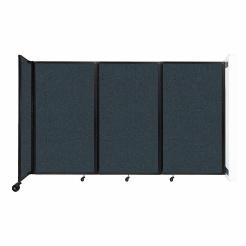 """Wall-Mounted Room Divider 360 Folding Partition 8'6"""" x 5' Blue Spruce Fabric"""