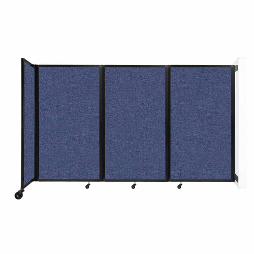 """Wall-Mounted Room Divider 360 Folding Partition 8'6"""" x 5' Cerulean Fabric"""