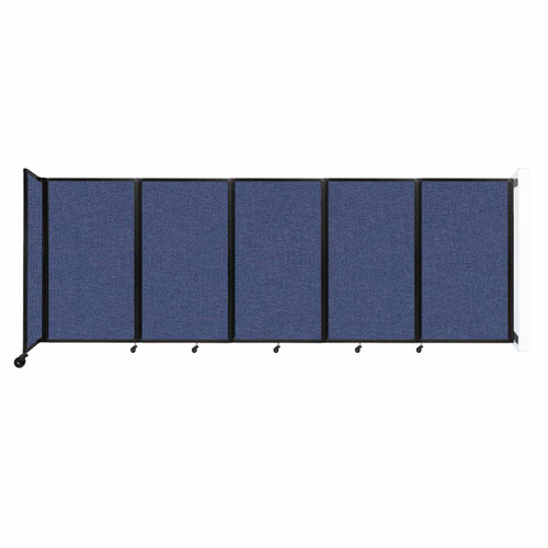 Wall-Mounted Room Divider 360 Folding Partition 14' x 5' Cerulean Fabric