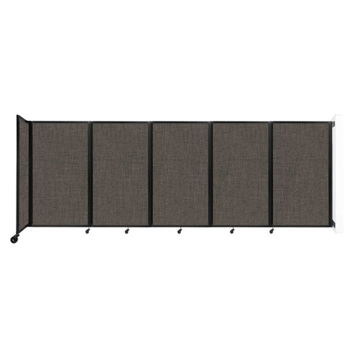 Wall-Mounted Room Divider 360 Folding Partition 14' x 5' Mocha Fabric