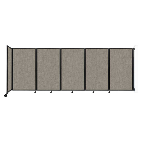 Wall-Mounted Room Divider 360 Folding Partition 14' x 5' Warm Pebble Fabric