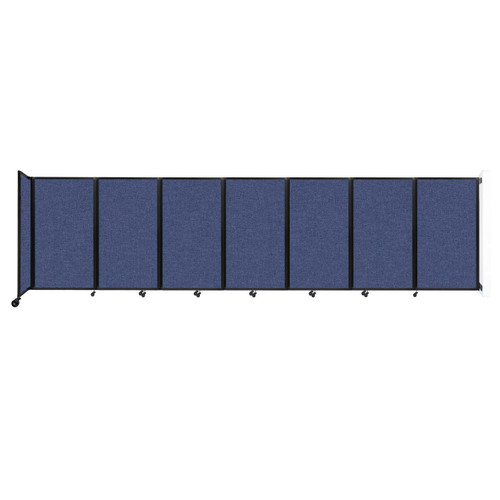 """Wall-Mounted Room Divider 360 Folding Partition 19'6"""" x 5' Cerulean Fabric"""